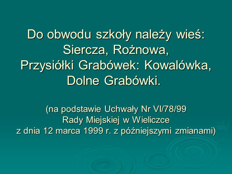 Do obwodu szkoły należy wieś: Siercza, Rożnowa, Przysiółki Grabówek: Kowalówka, Dolne Grabówki. (na podstawie Uchwały Nr VI/78/99 Rady Miejskiej w Wie