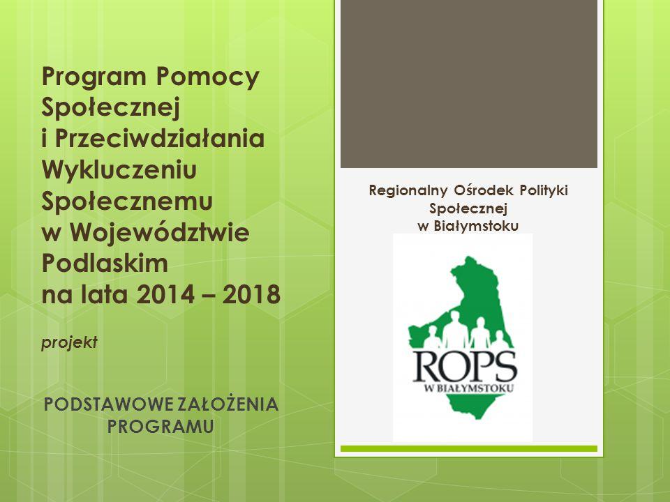 Program Pomocy Społecznej i Przeciwdziałania Wykluczeniu Społecznemu w Województwie Podlaskim na lata 2014 – 2018 projekt PODSTAWOWE ZAŁOŻENIA PROGRAMU Regionalny Ośrodek Polityki Społecznej w Białymstoku
