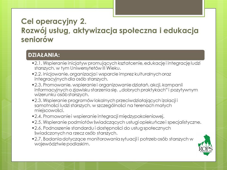 Cel operacyjny 2. Rozwój usług, aktywizacja społeczna i edukacja seniorów DZIAŁANIA: 2.1.