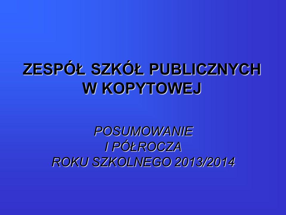 ZESPÓŁ SZKÓŁ PUBLICZNYCH W KOPYTOWEJ POSUMOWANIE I PÓŁROCZA ROKU SZKOLNEGO 2013/2014