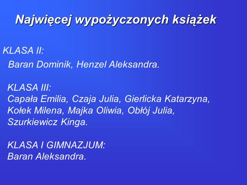 KLASA II: Baran Dominik, Henzel Aleksandra. KLASA III: Capała Emilia, Czaja Julia, Gierlicka Katarzyna, Kołek Milena, Majka Oliwia, Obłój Julia, Szurk