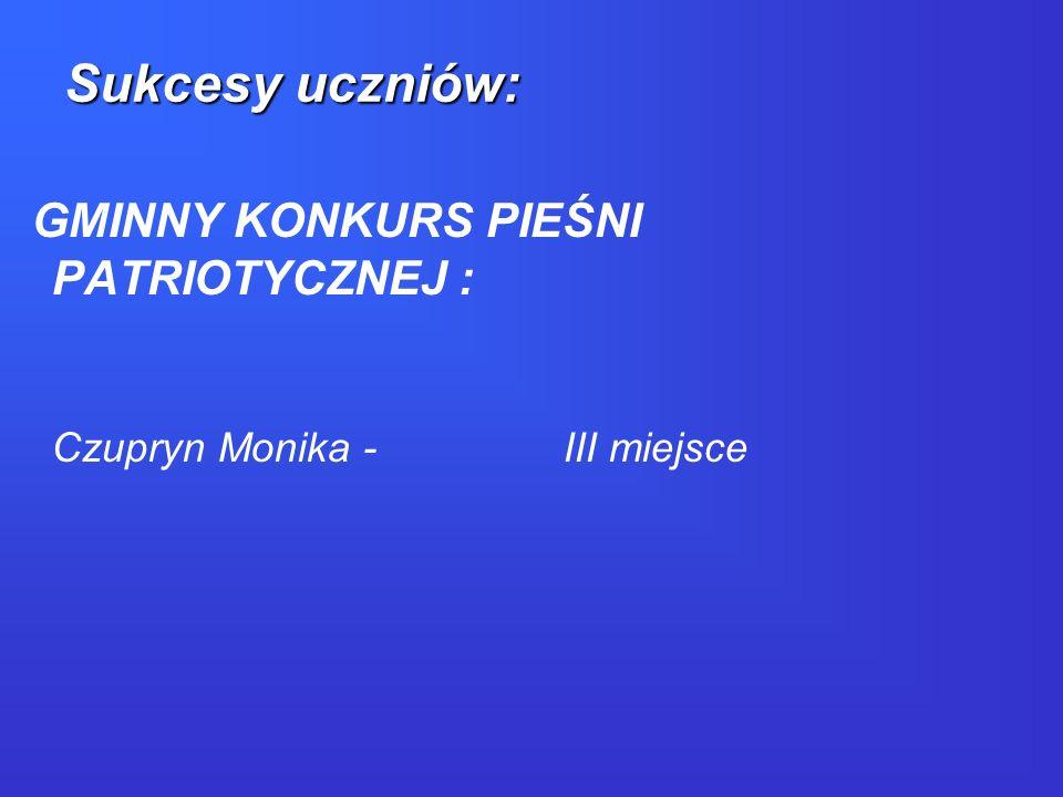 GMINNY KONKURS PIEŚNI PATRIOTYCZNEJ : Czupryn Monika - III miejsce Sukcesy uczniów: