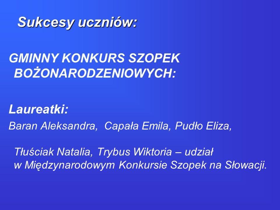 MIĘDZYNARODOWY KONKURS SZOPEK BOŻONARODZENIOWYCH NA SŁOWACJI: Siwak Kamil - I miejsce Mróz Rafał, Telma Kamil -II miejsce Bibinin Radosław -nagroda specjalna jury Sukcesy uczniów: