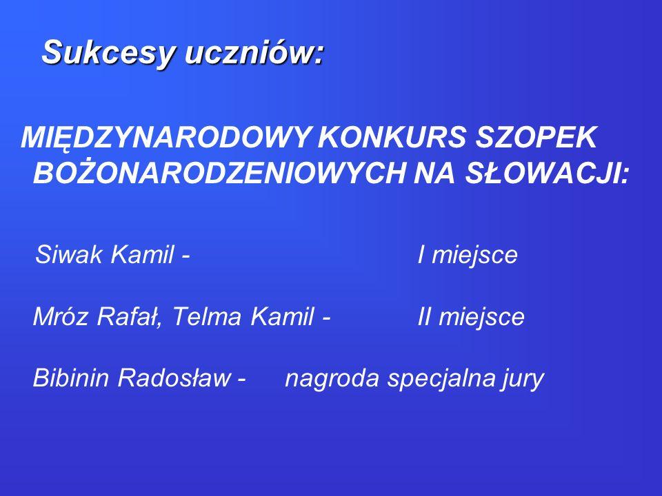 MIĘDZYNARODOWY KONKURS SZOPEK BOŻONARODZENIOWYCH NA SŁOWACJI: Siwak Kamil - I miejsce Mróz Rafał, Telma Kamil -II miejsce Bibinin Radosław -nagroda sp
