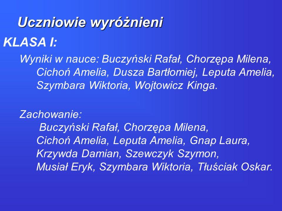 KLASA II: Wyniki w nauce: Henzel Aleksandra, Dubis Natalia, Furtek Filip, Lisowski Michał, Ordyna Wiktoria.