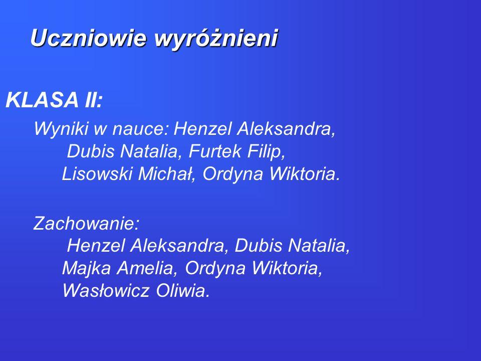 KLASA III: Wyniki w nauce: Capała Emilia, Czaja Julia, Gierlicka Katarzyna, Kołek Milena.