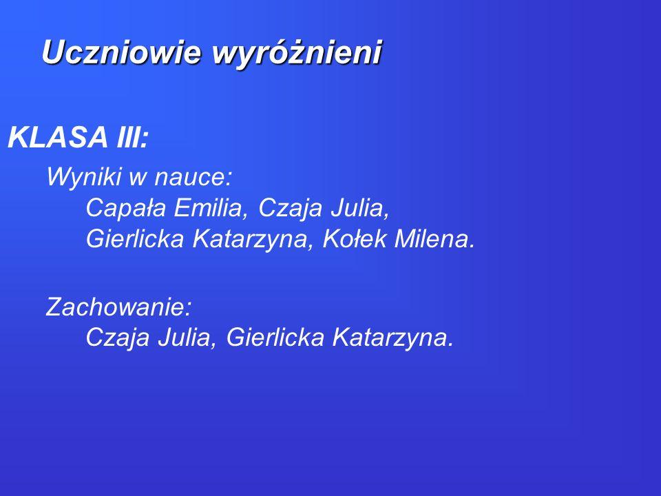 KLASA III: Wyniki w nauce: Capała Emilia, Czaja Julia, Gierlicka Katarzyna, Kołek Milena. Zachowanie: Czaja Julia, Gierlicka Katarzyna. Uczniowie wyró