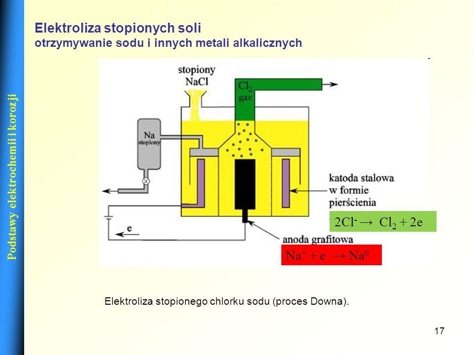 17 Elektroliza stopionych soli otrzymywanie sodu i innych metali alkalicznych Elektroliza stopionego chlorku sodu (proces Downa). Na + + e Na 0 2Cl -