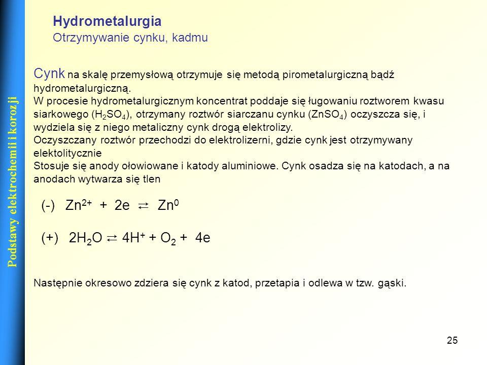 25 Podstawy elektrochemii i korozji Cynk na skalę przemysłową otrzymuje się metodą pirometalurgiczną bądź hydrometalurgiczną. W procesie hydrometalurg