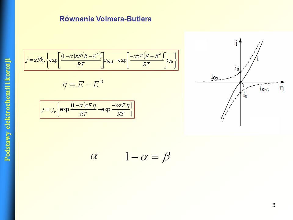 3 Podstawy elektrochemii i korozji Równanie Volmera-Butlera