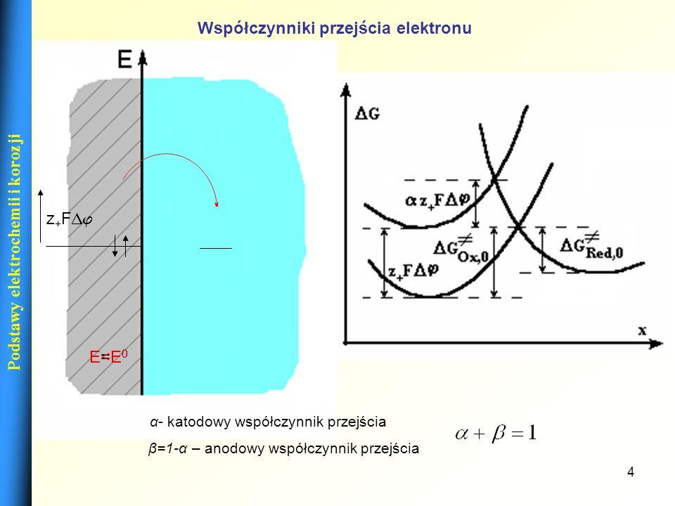 4 Podstawy elektrochemii i korozji E=E 0 E<E0E<E0 Współczynniki przejścia elektronu α- katodowy współczynnik przejścia β=1-α – anodowy współczynnik pr