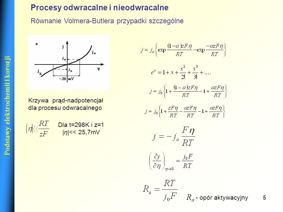 5 Podstawy elektrochemii i korozji Dla t=298K i z=1 |η|<< 25,7mV Krzywa prąd-nadpotencjał dla procesu odwracalnego R a - opór aktywacyjny Procesy odwr