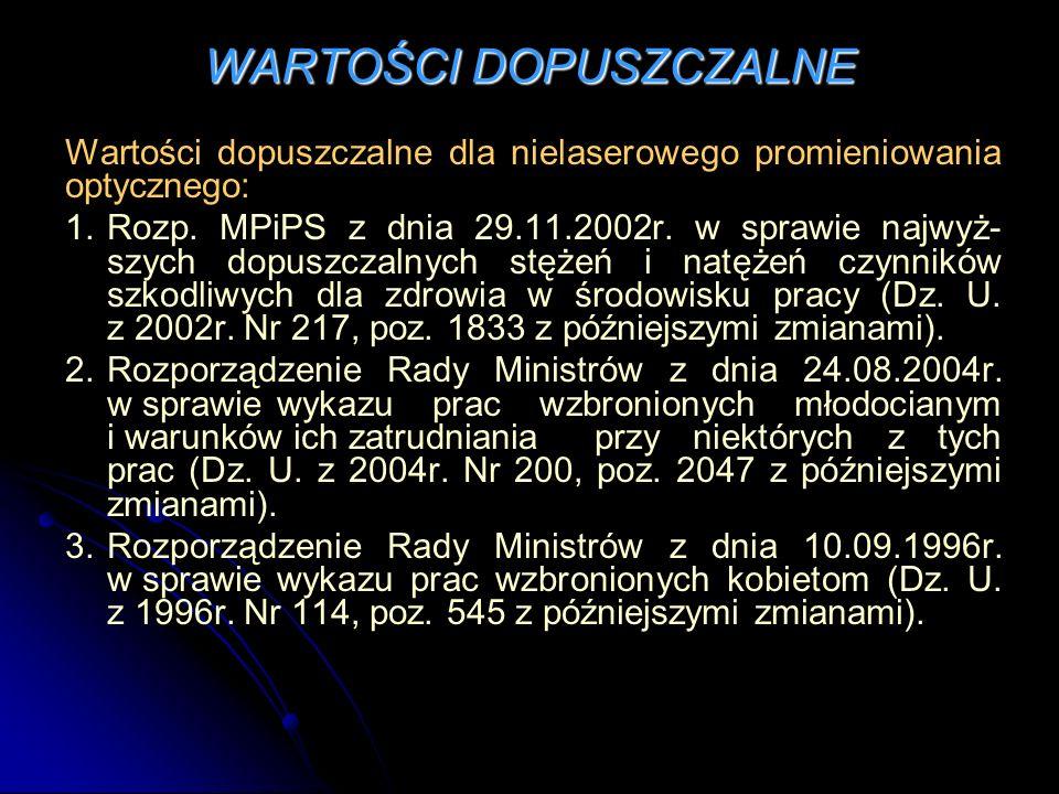 WARTOŚCI DOPUSZCZALNE Wartości dopuszczalne dla nielaserowego promieniowania optycznego: 1.Rozp. MPiPS z dnia 29.11.2002r. w sprawie najwyż- szych dop