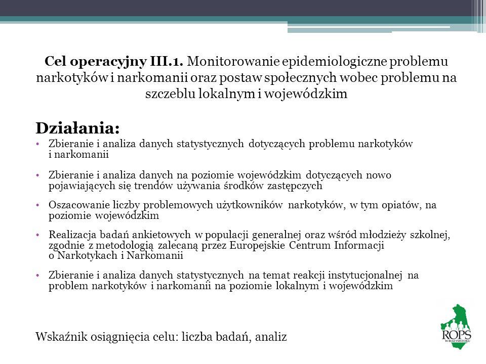 Cel operacyjny III.1. Monitorowanie epidemiologiczne problemu narkotyków i narkomanii oraz postaw społecznych wobec problemu na szczeblu lokalnym i wo