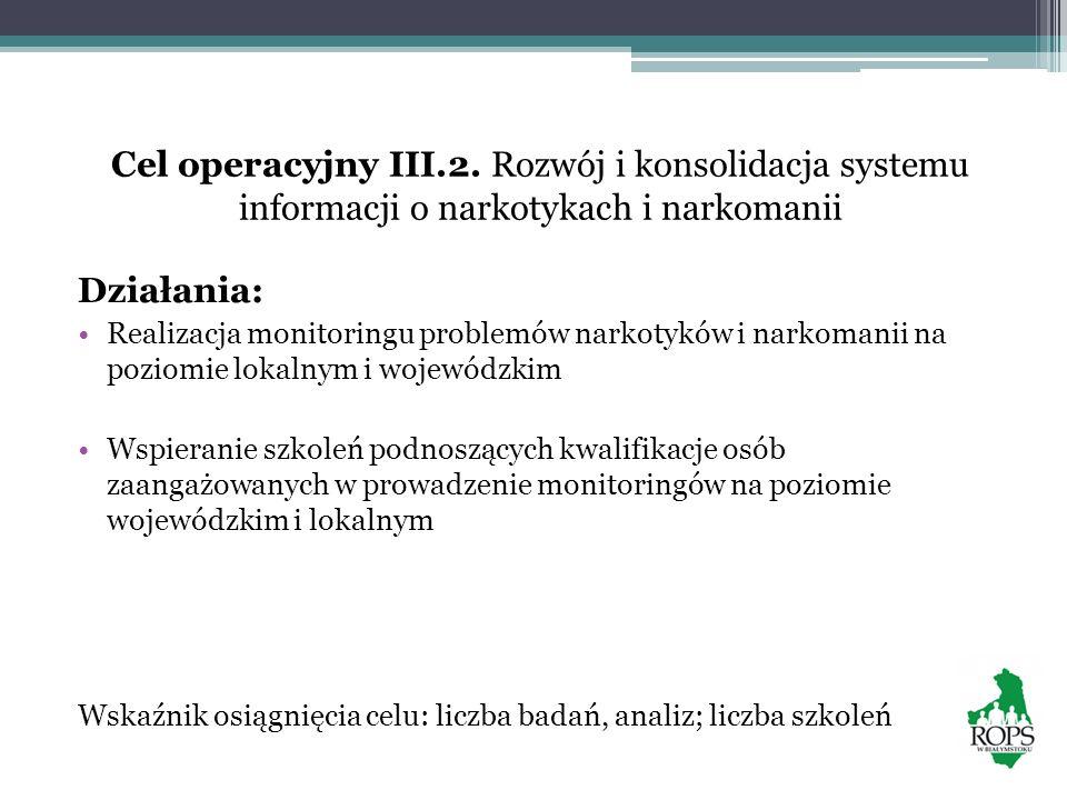 Cel operacyjny III.2. Rozwój i konsolidacja systemu informacji o narkotykach i narkomanii Działania: Realizacja monitoringu problemów narkotyków i nar