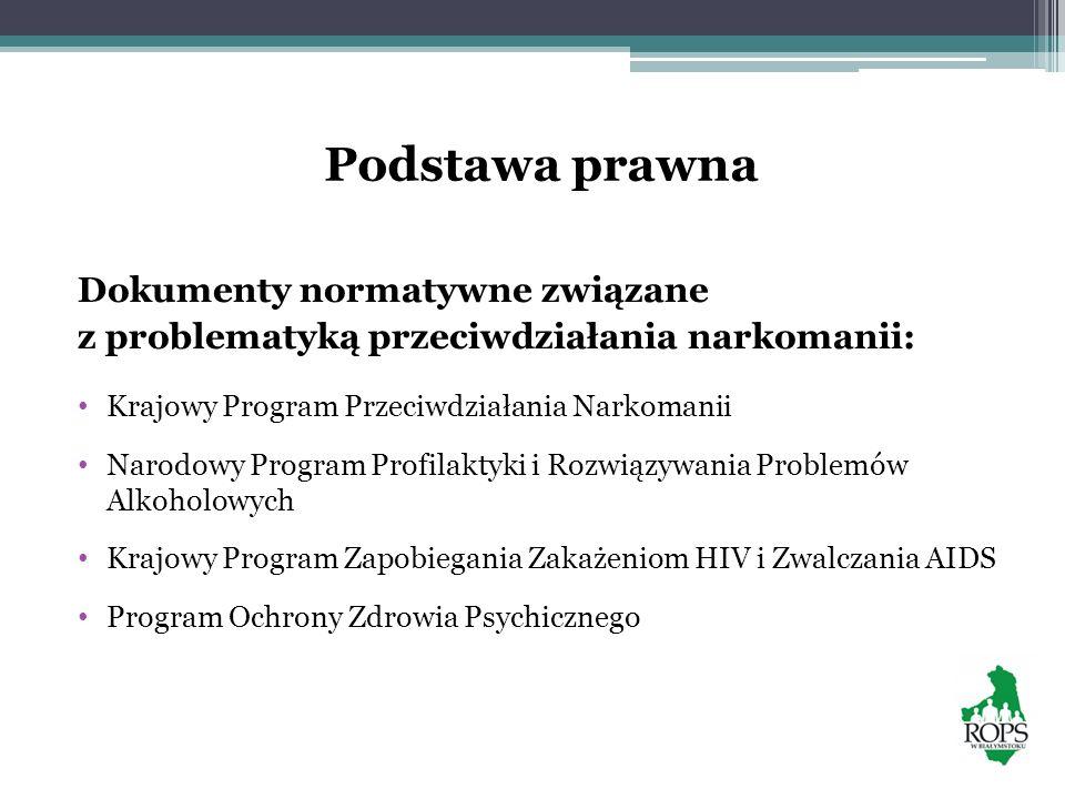 Podstawa prawna Dokumenty normatywne związane z problematyką przeciwdziałania narkomanii: Krajowy Program Przeciwdziałania Narkomanii Narodowy Program