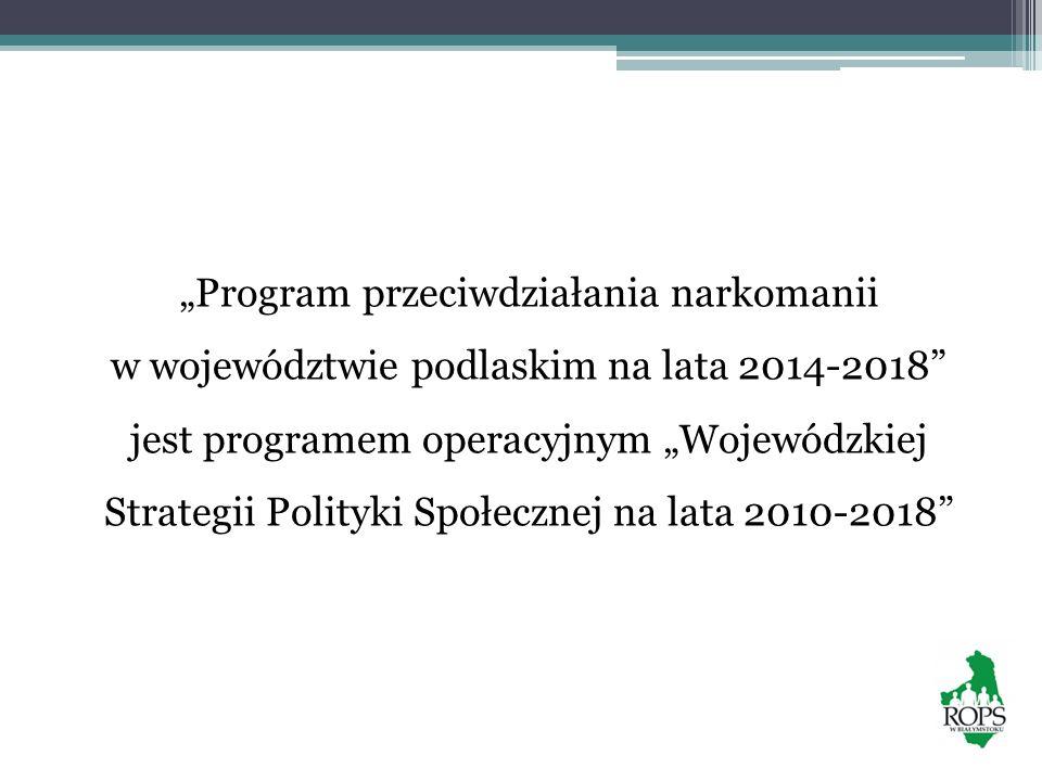 Program przeciwdziałania narkomanii w województwie podlaskim na lata 2014-2018 jest programem operacyjnym Wojewódzkiej Strategii Polityki Społecznej n