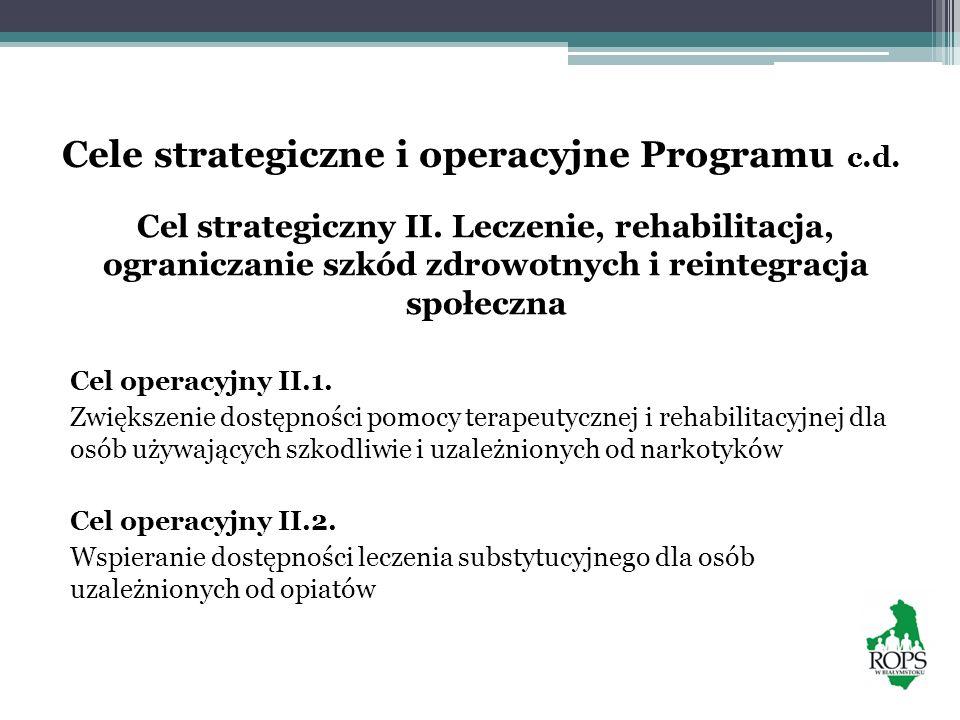 Cele strategiczne i operacyjne Programu c.d. Cel strategiczny II. Leczenie, rehabilitacja, ograniczanie szkód zdrowotnych i reintegracja społeczna Cel