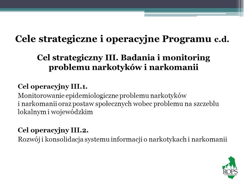 Cele strategiczne i operacyjne Programu c.d. Cel strategiczny III. Badania i monitoring problemu narkotyków i narkomanii Cel operacyjny III.1. Monitor