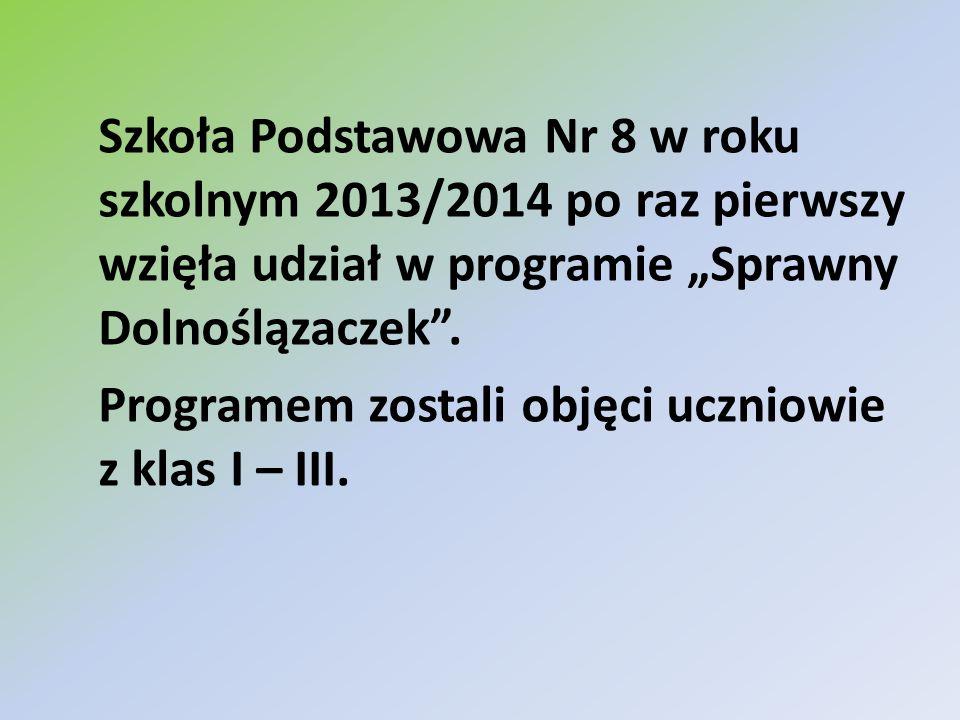 Szkoła Podstawowa Nr 8 w roku szkolnym 2013/2014 po raz pierwszy wzięła udział w programie Sprawny Dolnoślązaczek. Programem zostali objęci uczniowie