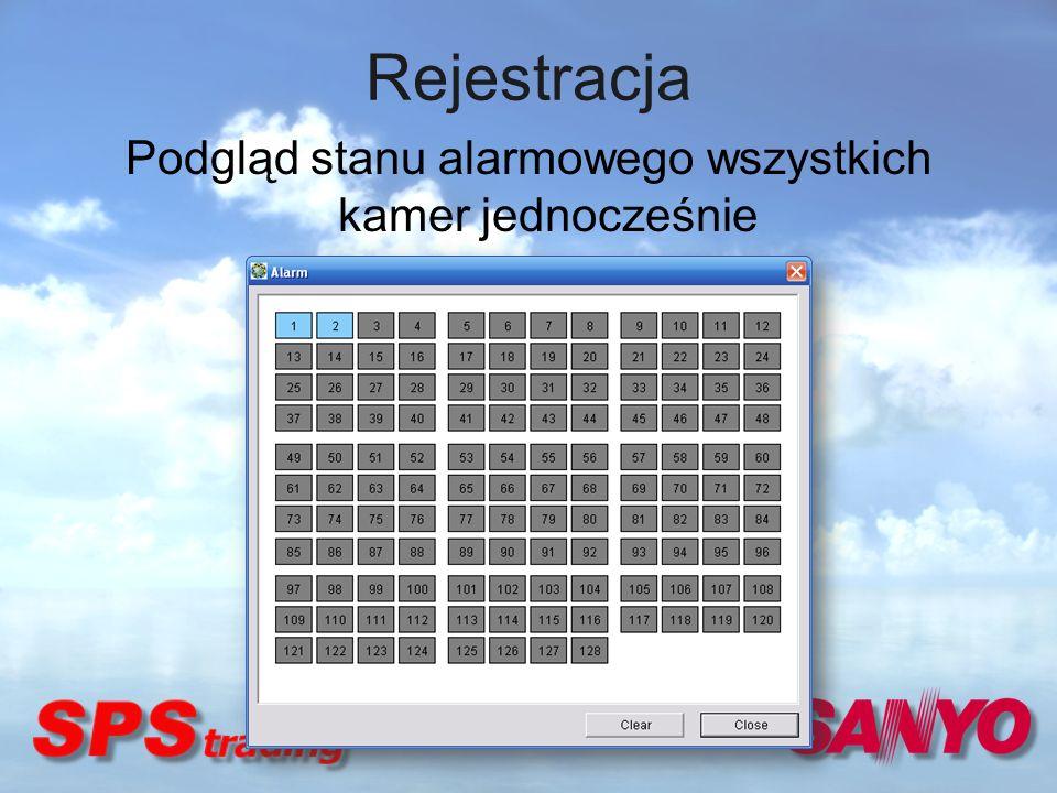 Rejestracja Podgląd stanu alarmowego wszystkich kamer jednocześnie