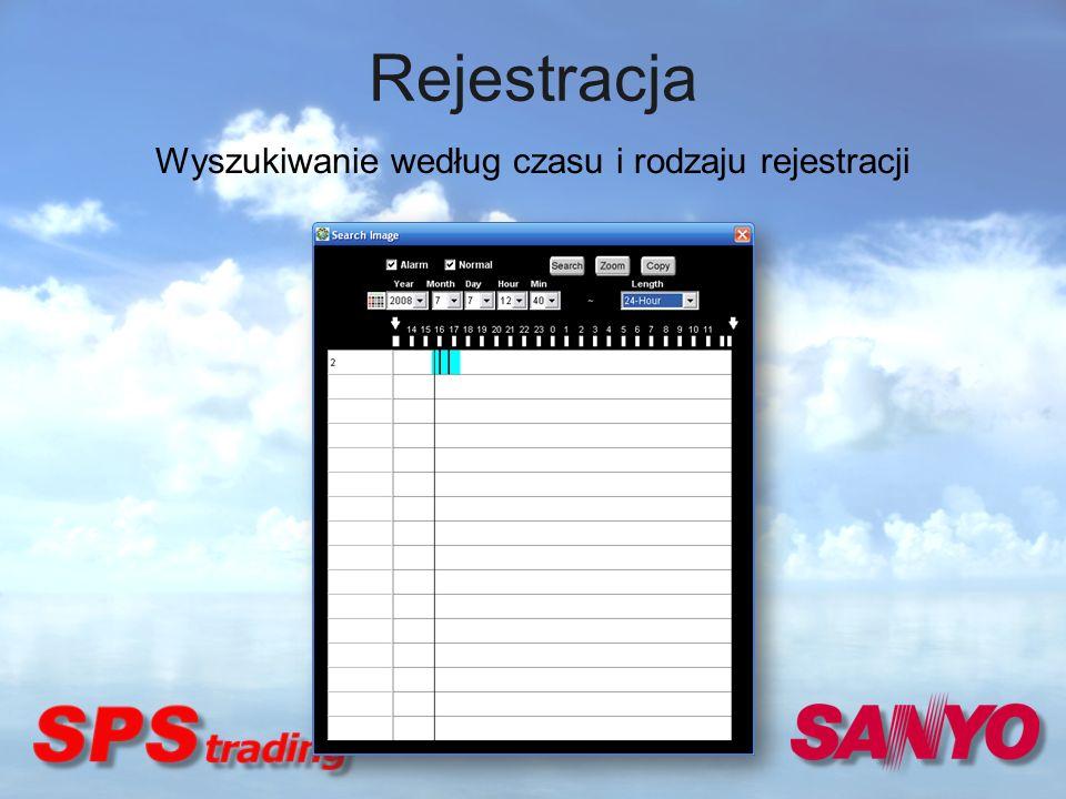 Rejestracja Wyszukiwanie według czasu i rodzaju rejestracji