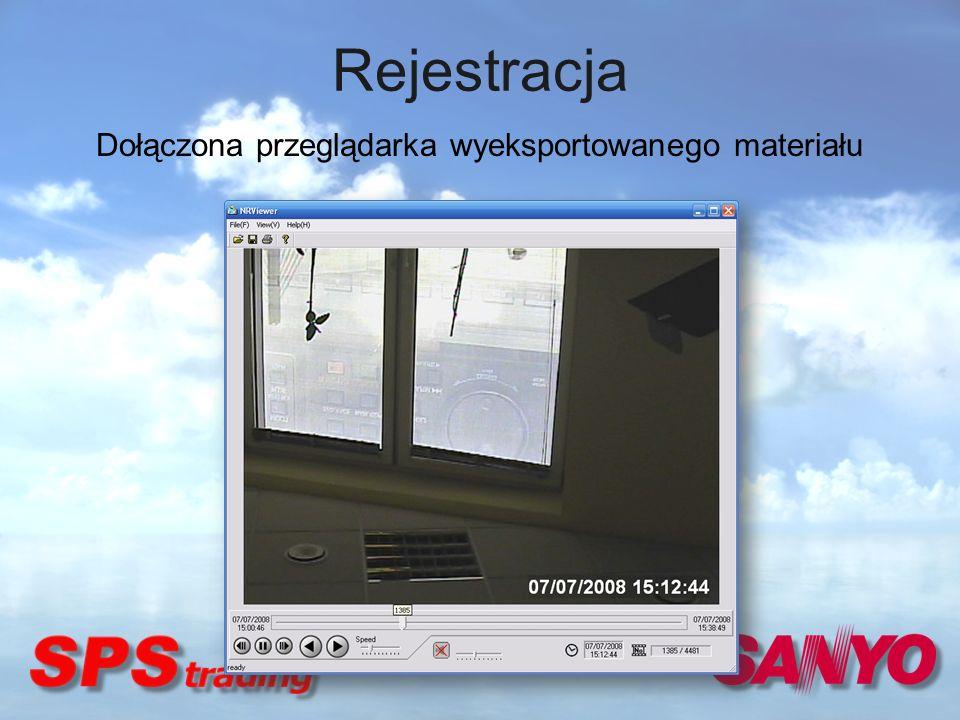 Rejestracja Dołączona przeglądarka wyeksportowanego materiału