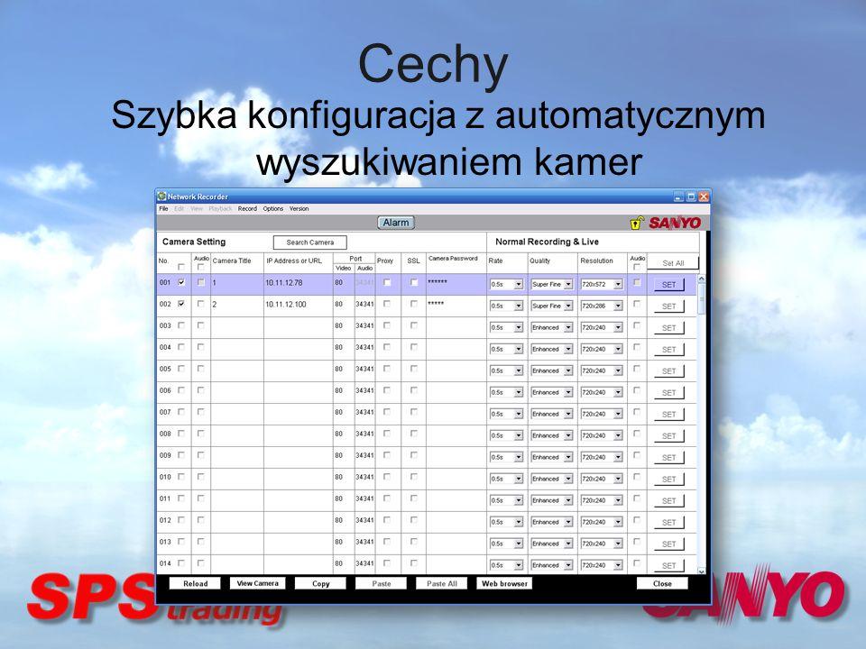 Cechy Szybka konfiguracja z automatycznym wyszukiwaniem kamer