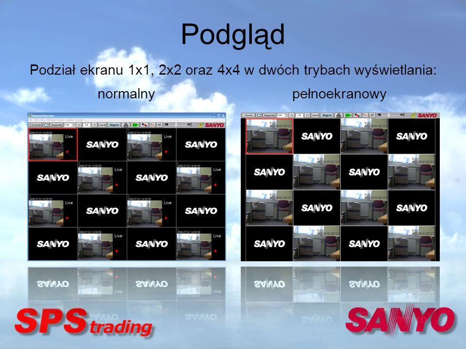 Podgląd normalny pełnoekranowy Podział ekranu 1x1, 2x2 oraz 4x4 w dwóch trybach wyświetlania: