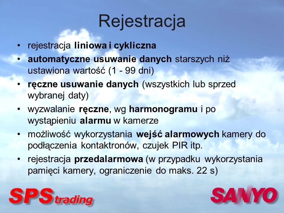 Rejestracja rejestracja liniowa i cykliczna automatyczne usuwanie danych starszych niż ustawiona wartość (1 - 99 dni) ręczne usuwanie danych (wszystki