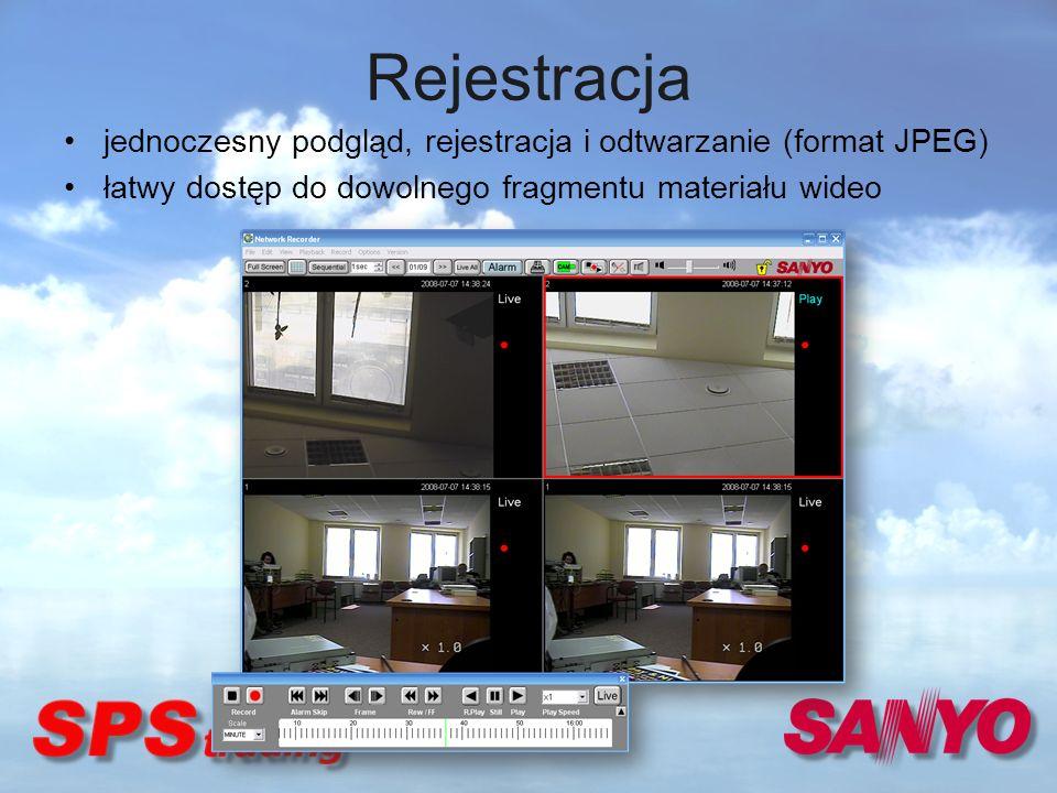 Rejestracja jednoczesny podgląd, rejestracja i odtwarzanie (format JPEG) łatwy dostęp do dowolnego fragmentu materiału wideo