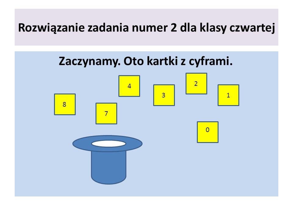 Rozwiązanie zadania numer 2 dla klasy czwartej Zaczynamy. Oto kartki z cyframi. 8 7 4 3 2 1 0
