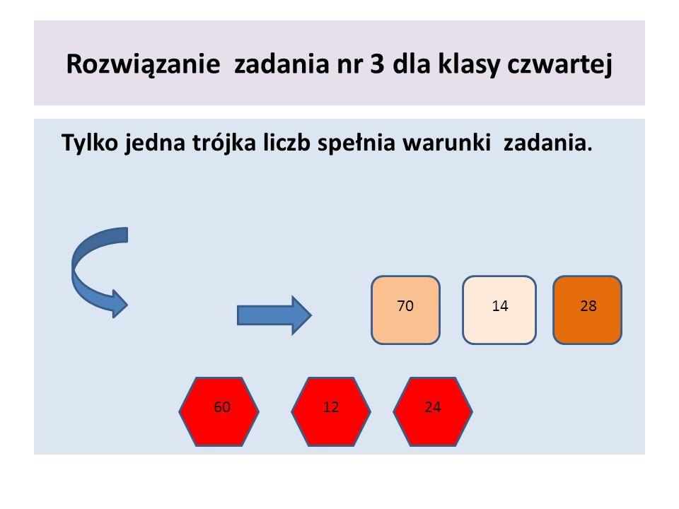 Rozwiązanie zadania nr 3 dla klasy czwartej Tylko jedna trójka liczb spełnia warunki zadania. 701428 601224