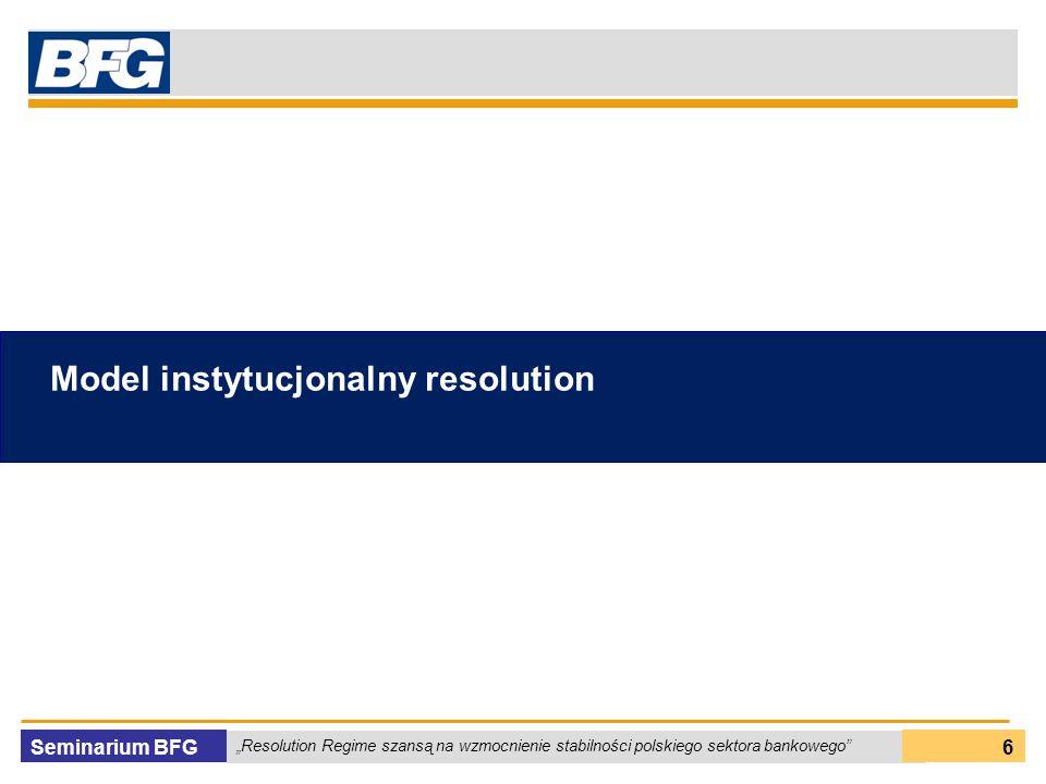 Seminarium BFG Resolution Regime szansą na wzmocnienie stabilności polskiego sektora bankowego 6 Model instytucjonalny resolution