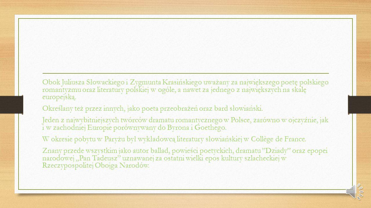 Dorastał w uwielbieniu literatury klasycznej. Jego najbardziej znane dzieła: Sonety krymskie, Pan Tadeusz czyli ostatni Zajazd na Litwie, Konrad Walle