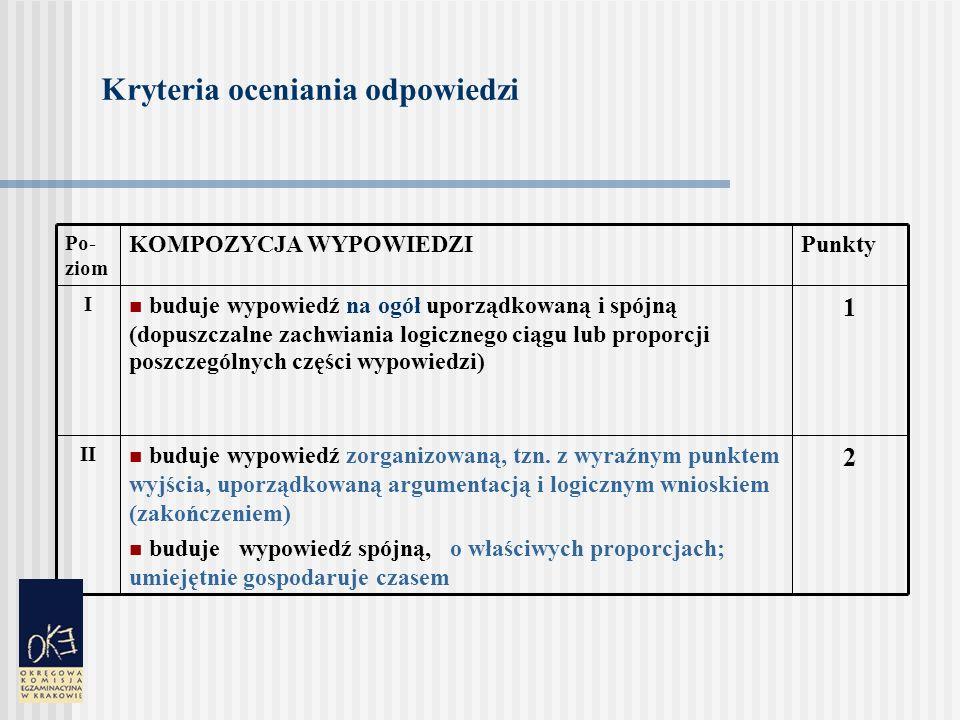 Kryteria oceniania odpowiedzi 2 buduje wypowiedź zorganizowaną, tzn.