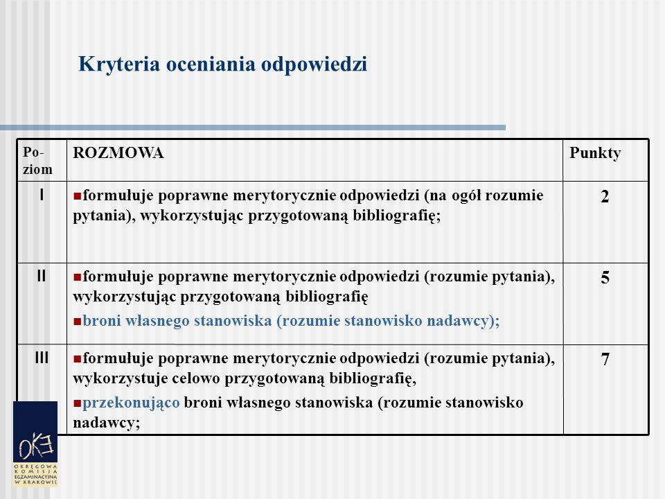 Kryteria oceniania odpowiedzi 7 formułuje poprawne merytorycznie odpowiedzi (rozumie pytania), wykorzystuje celowo przygotowaną bibliografię, przekonująco broni własnego stanowiska (rozumie stanowisko nadawcy; III 5 formułuje poprawne merytorycznie odpowiedzi (rozumie pytania), wykorzystując przygotowaną bibliografię broni własnego stanowiska (rozumie stanowisko nadawcy); II 2 formułuje poprawne merytorycznie odpowiedzi (na ogół rozumie pytania), wykorzystując przygotowaną bibliografię; I PunktyROZMOWA Po- ziom
