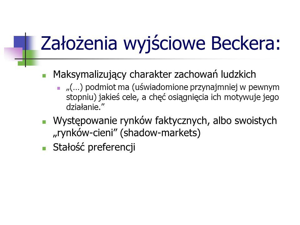 Założenia wyjściowe Beckera: Maksymalizujący charakter zachowań ludzkich (…) podmiot ma (uświadomione przynajmniej w pewnym stopniu) jakieś cele, a ch