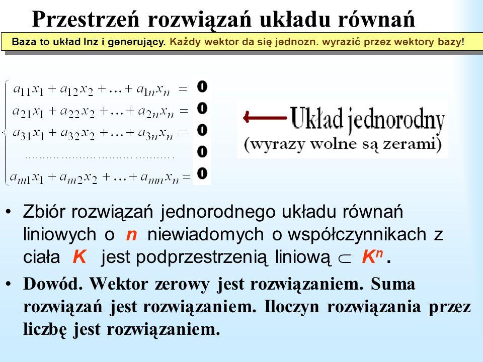 Przestrzeń liniowa i podprzestrzeń Podprzestrzeń liniowa przestrzeni V to podzbiór W taki, że 0 W oraz v_1, v_2 W v_1 + v_2 W, v W a·v W, dla każdego skalara a.