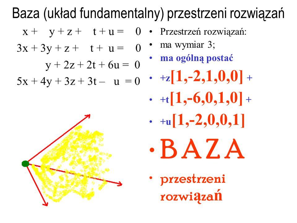 Przedstawienie parametryczne przestrzeni rozwiązań x + y + z + t + u = 7 3x + 3y + z + t + u = – 2 y + 2z + 2t + 6u = 23 5x + 4y + 3z + 3t – u = 12 Przestrzeń rozwiązań: ma wymiar 3; ma ogólną postać (-16,23,0,0,0) + +z[1,-2,1,0,0] + +t[1,-6,0,1,0] + +u[1,-2,0,0,1]