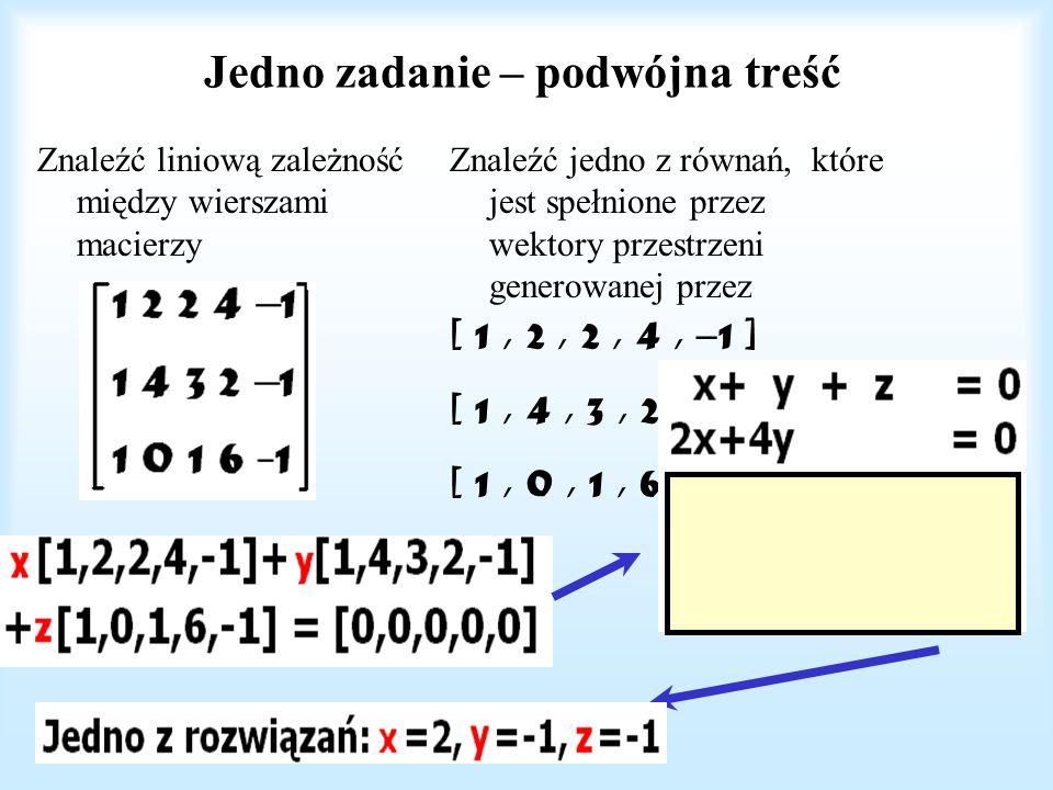 Układ liniowo niezależny dopełnić do bazy [-1,- 1 / 2,1,0, 0] [-6, 1, 0, 1, 0] [1, 0, 0, 0, 1] Poniższy układ jest liniowo niezależny i tworzy bazę: [1, 0, 0, 0, 0] [0, 1, 0, 0, 0 ] [-1,- 1 / 2,1,0, 0] [-6, 1, 0, 1, 0] [1, 0, 0, 0, 1] Jest to macierz trójkątna (= o postaci schodkowej) Wyznacznik jest równy iloczynowi elementów na przekątnej, tj.