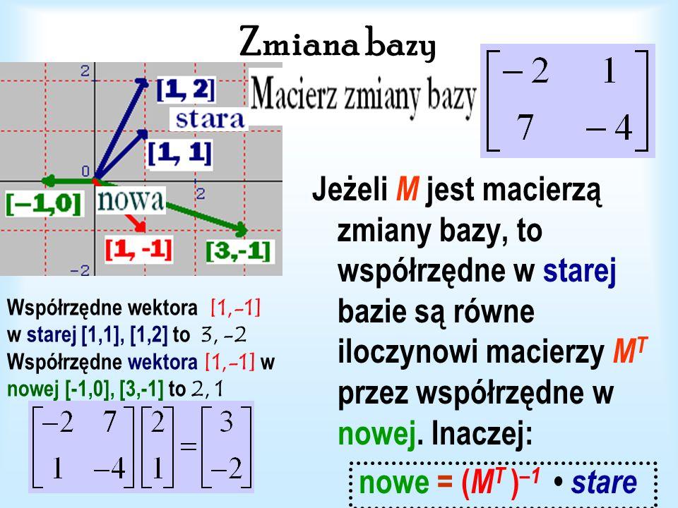 Zmiana bazy Macierz zmiany bazy (macierz przejścia od jednej bazy do drugiej).