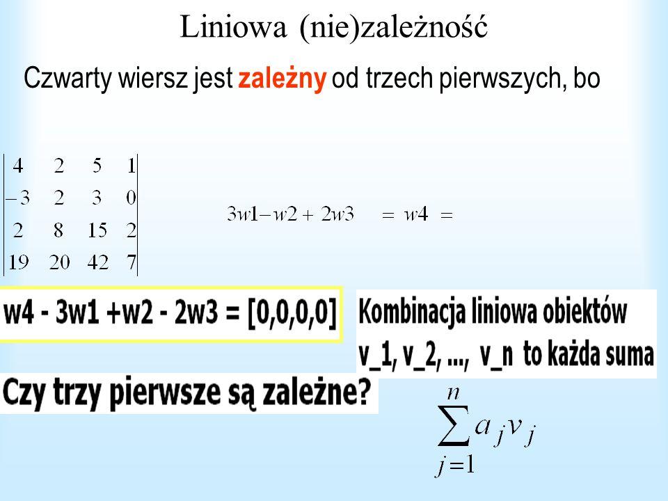 Liniowa (nie)zależność Czwarty wiersz jest zależny od trzech pierwszych, bo
