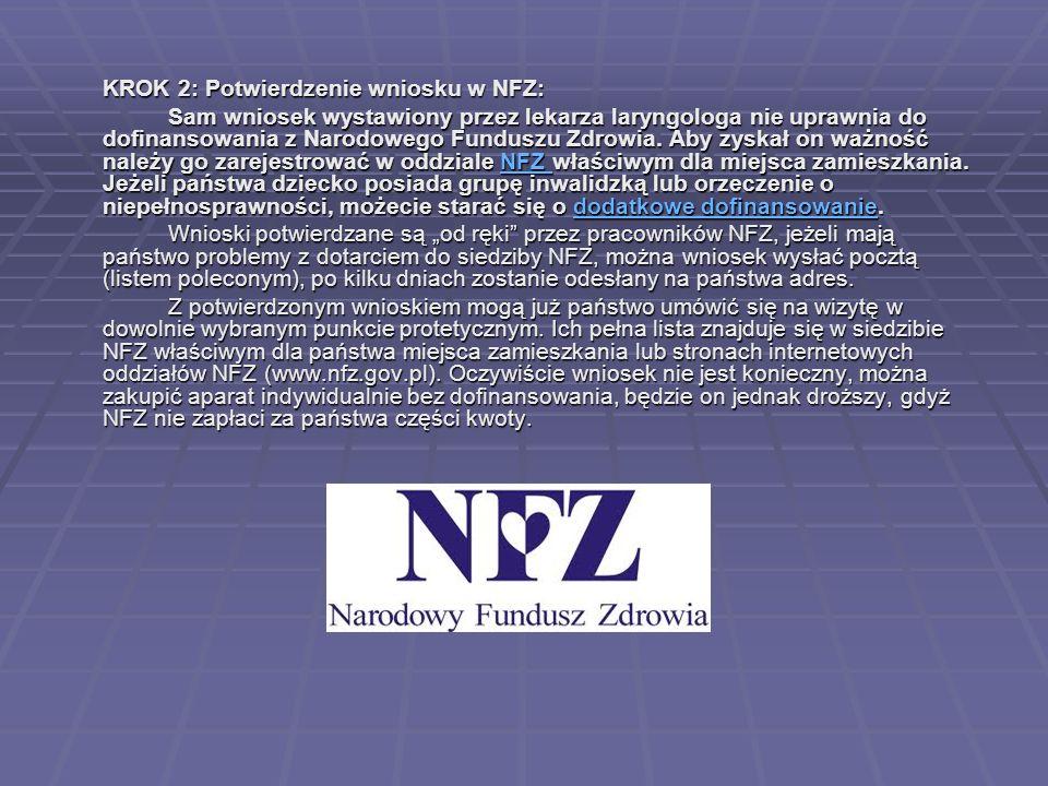 KROK 2: Potwierdzenie wniosku w NFZ: Sam wniosek wystawiony przez lekarza laryngologa nie uprawnia do dofinansowania z Narodowego Funduszu Zdrowia. Ab