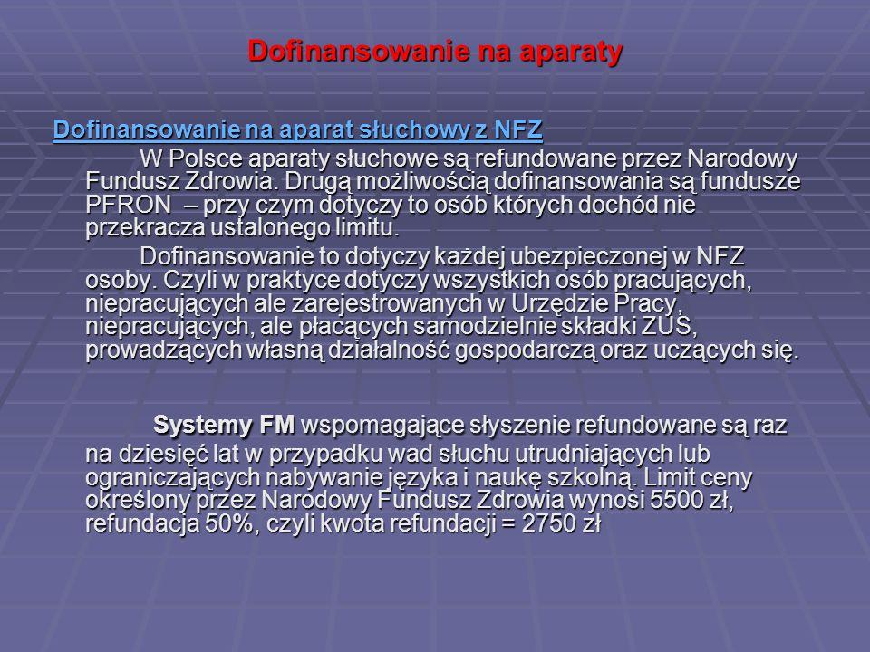 Dofinansowanie na aparaty Dofinansowanie na aparat słuchowy z NFZ Dofinansowanie na aparat słuchowy z NFZ W Polsce aparaty słuchowe są refundowane prz
