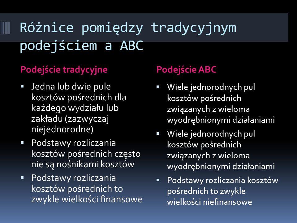 Różnice pomiędzy tradycyjnym podejściem a ABC Podejście tradycyjnePodejście ABC Jedna lub dwie pule kosztów pośrednich dla każdego wydziału lub zakład