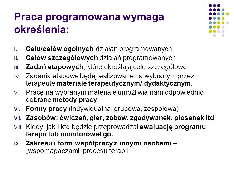 Praca programowana wymaga określenia: I.Celu/celów ogólnych działań programowanych.