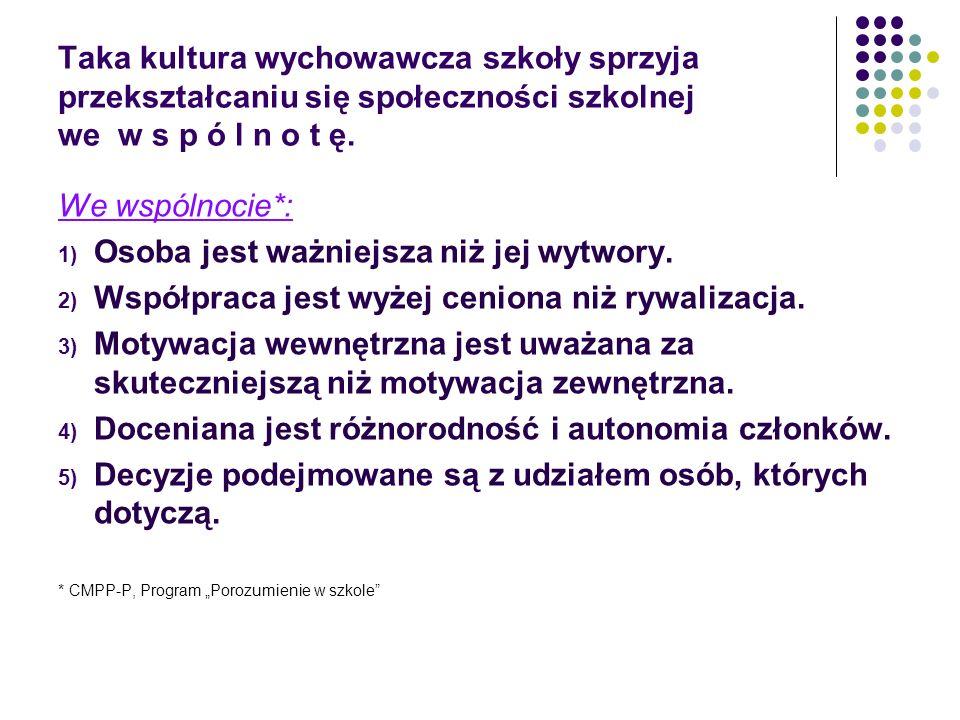 Taka kultura wychowawcza szkoły sprzyja przekształcaniu się społeczności szkolnej we w s p ó l n o t ę.