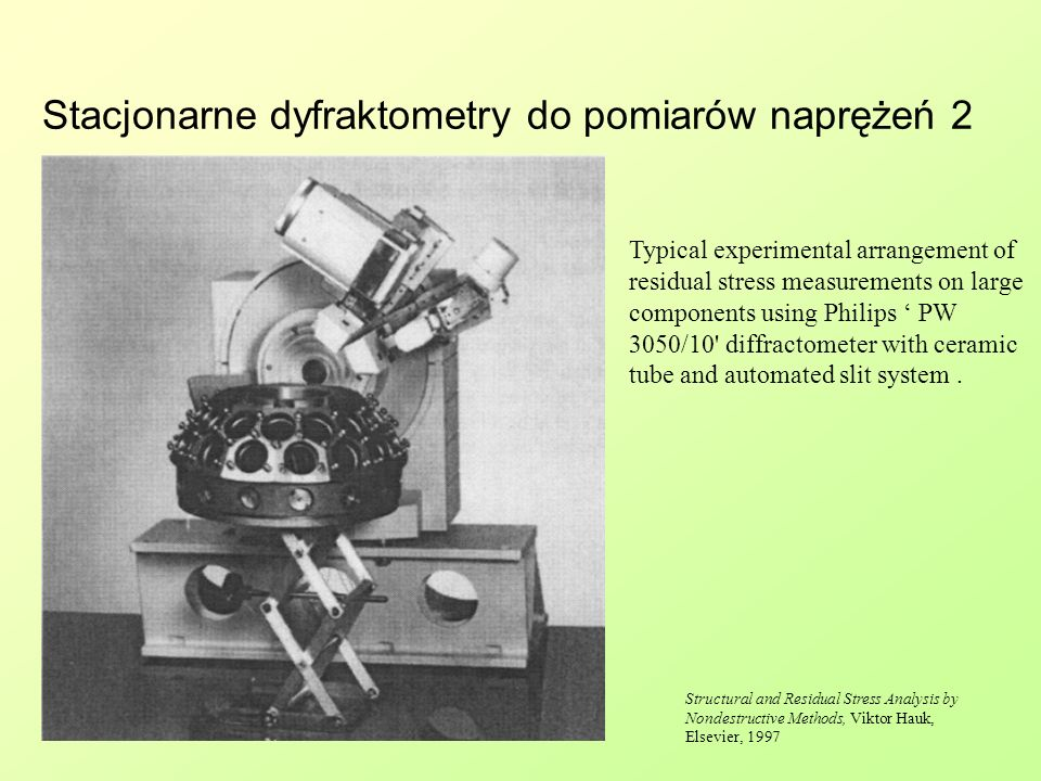 Stacjonarne dyfraktometry do pomiarów naprężeń 2 Typical experimental arrangement of residual stress measurements on large components using Philips PW