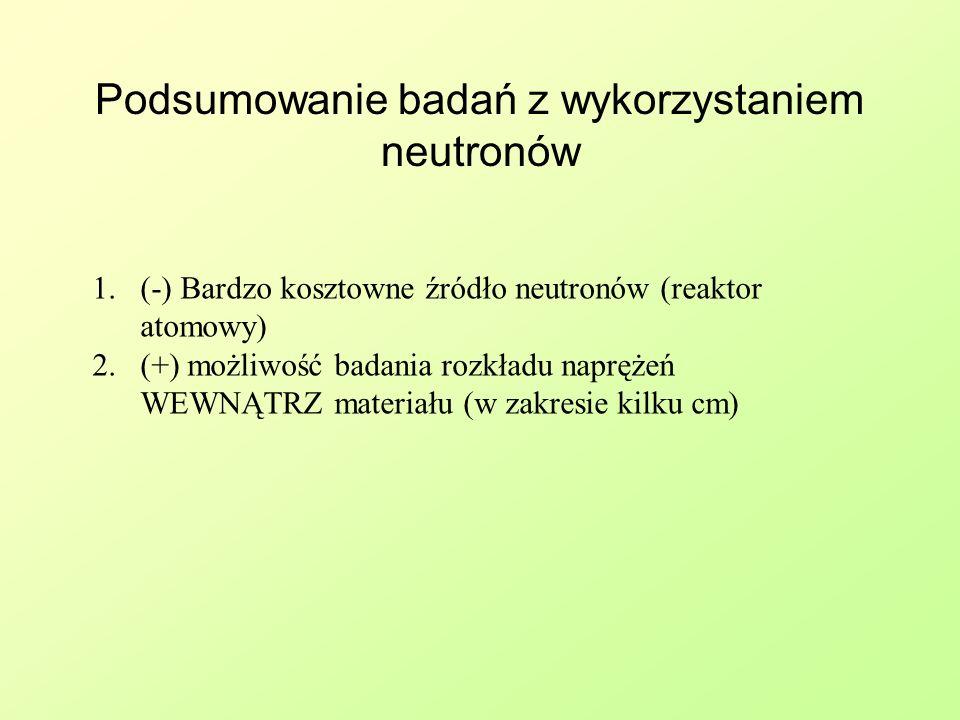 Podsumowanie badań z wykorzystaniem neutronów 1.(-) Bardzo kosztowne źródło neutronów (reaktor atomowy) 2.(+) możliwość badania rozkładu naprężeń WEWN